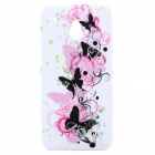 Butterfly Pattern Protective Silicone Back Case for HTC One Mini / M4 - Black + White + Red