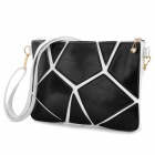 PU Leather Shoulder Bag for Women - White + Black