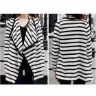 YLY-C3-2D-2120# Stripe Pattern Fashionable Women's Cotton Irregular Cardigan Coat - Black + White