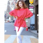 Stylish Cotton Corset Long Batwing Sleeves T-Shirt for Women - Deep Pink (Free Size)