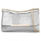 Stylish Fashionable Women's PU Clutch Hand Bag - Silver + Golden