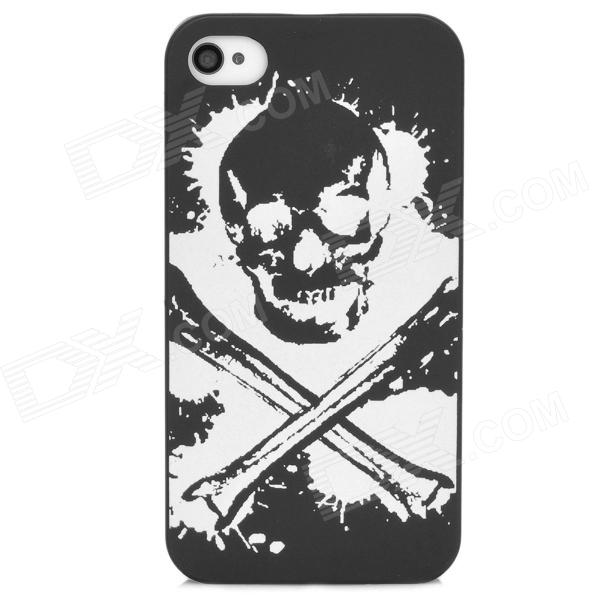 Stylish Glow-in-the-dark Skull Pattern Protective Plastic Back Case for Iphone 4S - Black + White t2 mini qi wireless charger pad for lg e960 google nexus 4 2g nokia lumia 920 white black