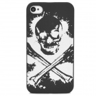 Stylish Glow-in-the-dark Skull Pattern Protective Plastic Back Case for Iphone 4S - Black + White