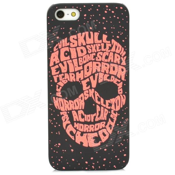Stylish Glow-in-the-dark Skull Pattern Protective Plastic Back Case for Iphone 5 - Black + Red london pattern protective plastic back case w front screen protector for iphone 5 grey red