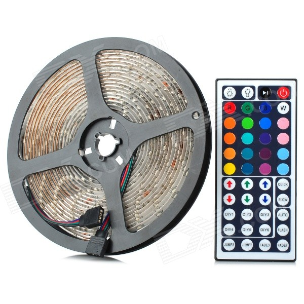 Waterpoof 48W 1300lm 300-3528 SMD LED RGB Light Flexible Strip w/ 44-Key Controller (5m / DC 12V) waterproof 300 3528 smd led rgb flexible strip w 24 key controller 12v 5m