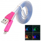USB to 8-Pin Lightning Data/Charging Cable w/ Visible Light for iPhone 5 - Deep Pink