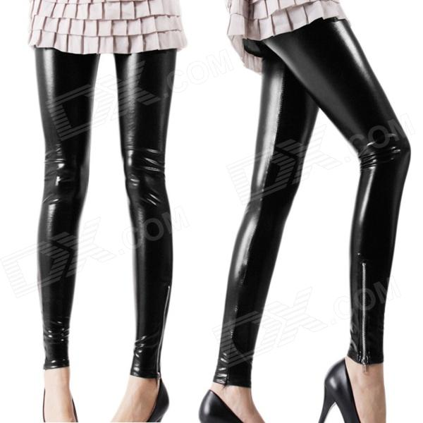 ZEA-JFK-1 Fashionable Women's Matte Artificial Leather Leggings Pantyhose - Black