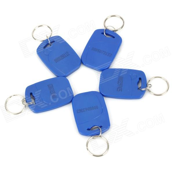 MJID Door Access Control Rectangle ID Card Keychain - Blue + Silver (125kHz / 5 PCS)