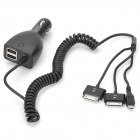CC37-ITM 5V 4.6A Dual USB Car Charger w/ Micro USB / 30pin Flexible Cable for iPhone + More - Black