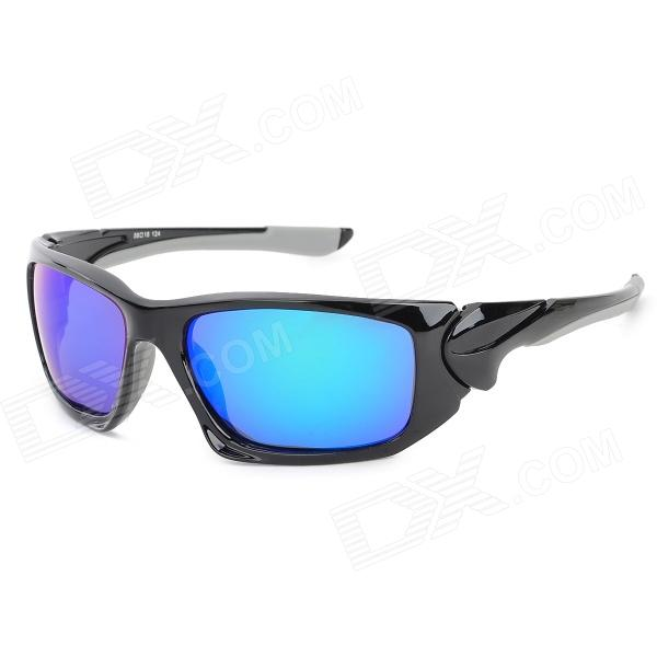 CARSHIRO 1277 UV400 Protection Grey Plating Blue REVO Resin Lens Sunglasses - Black + Grey reedoon f207 radiation blue ray protection tr90 frame resin lens gaming glasses black blue