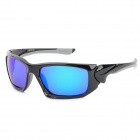 CARSHIRO 1277 UV400 Protection Grey Plating Blue REVO Resin Lens Sunglasses - Black + Grey