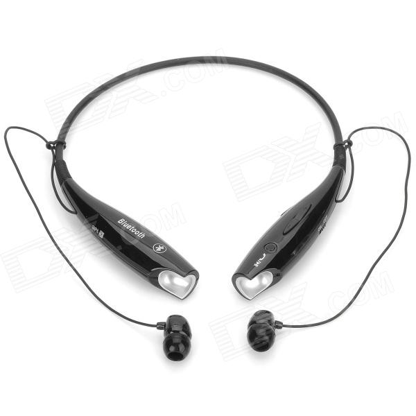 HV-800 Bluetooth Neck Hanging In-Ear Bluetooth v2.1 + EDR Earphones w/ Microphone - Black sport mp3 player bluetooth headset with fm tf slot black red 15 hour talk 200 hour standby