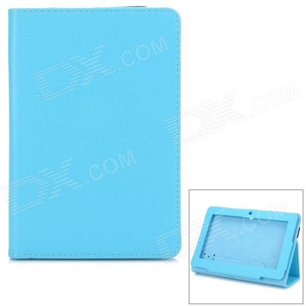 715 Stylish Universal Litchi Pattern Flip-open PU Leather Case w/ Holder for 7 Tablet PC - Blue universal protective flip open suction cup pu leather case cover w stand for tablet pc blue