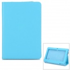 "715 Stylish Universal Litchi Pattern Flip-open PU Leather Case w/ Holder for 7"" Tablet PC - Blue"