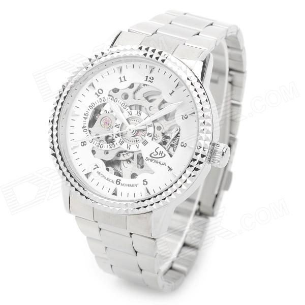 Stainless Steel Self-Winding Mechanical Analog Wrist Watch for Men - Silver