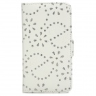 Maple Leaf Pattern Protective Rhinestone PU Leather Case for Samsung i9295 - White