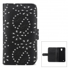Leaf + Rhinestones Flower Pattern Protective PU Leather Case for Samsung i9295 - Black + Silver