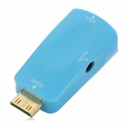 Mini HDMI Male to VGA Female Adapter w/ 3.5mm Audio Port - Blue
