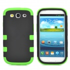3-in-1 Detachable Silicone + PC Back Case for Samsung Galaxy S3 / i9300 - Black + Green