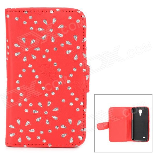 Leaf + Rhinestones Flower Pattern Protective PU Leather Case for Samsung S4 Mini - Red + Silver