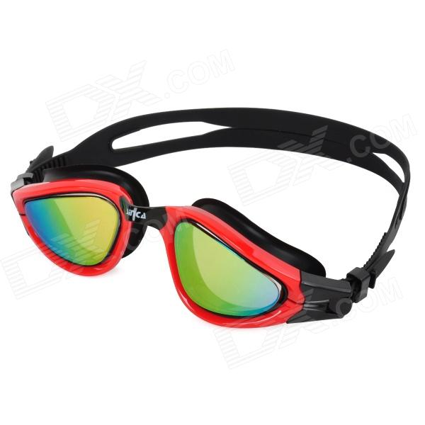 Sinca S988M-Red Electroplated Anti-Fog Lens Swimming Goggles - Red + Black