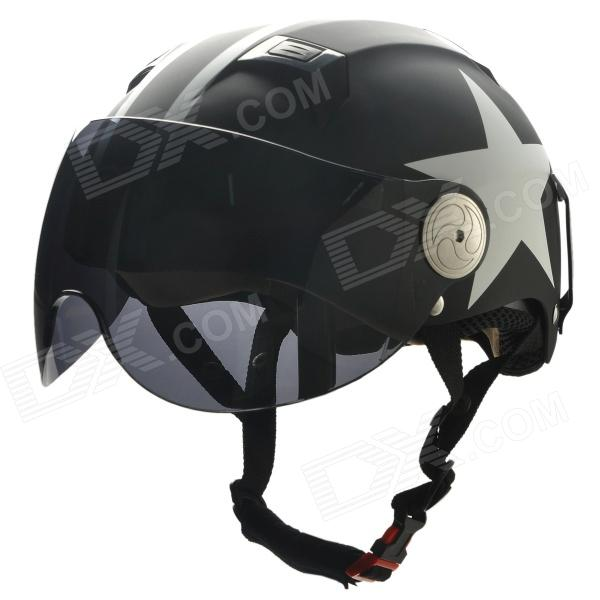 BEON L30 Harley Style Star Pattern Motorcycle Half Helmet - White + Black (Size XL)