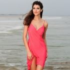 LC40451-3 Stylish Women's Sexy Cross Front Beach Cover-up - Deep Pink (Free Size)