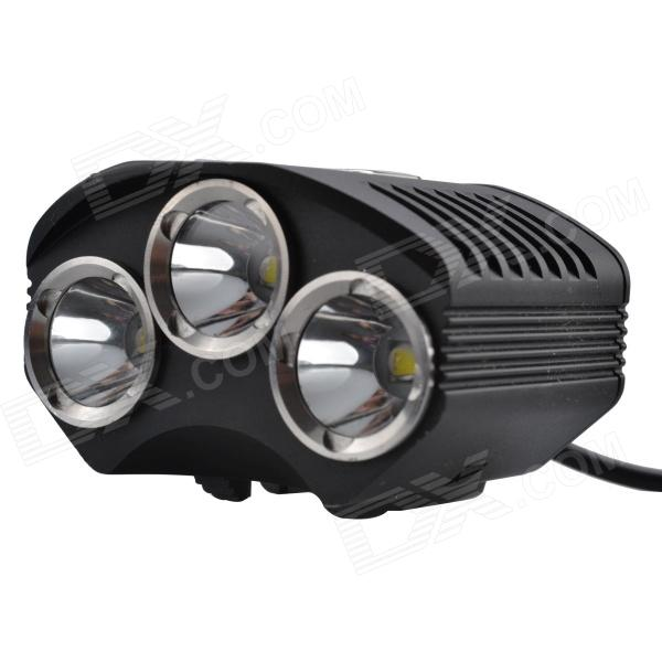 SingFire SF-608 2400lm 4-Mode White Cycling Bike Headlamp w/ 3 x CREE XM-L T6 - Black (4 x 18650)