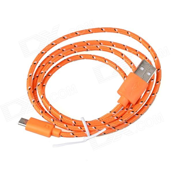 Micro USB Male to USB 2.0 Male Data Sync / Charging Cable - Orange + White + Black (95cm)