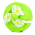012-317 Creative Cartoon e-shape USB Powered 1-Mode 3-Blades Fan - Green