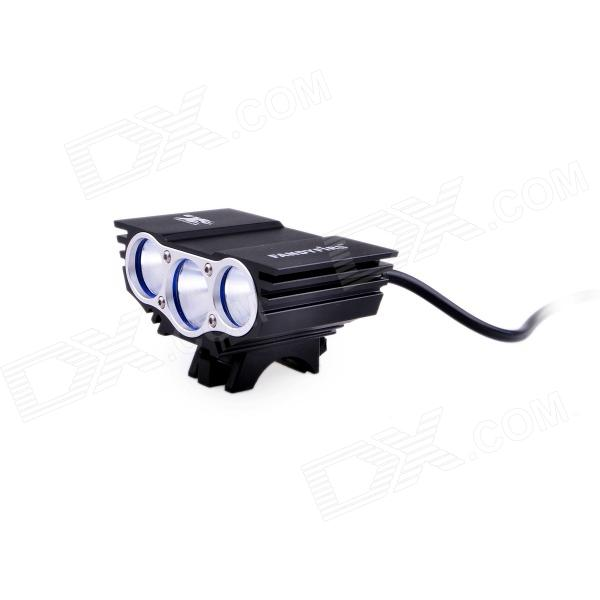 Fandyfire X3 2000lm 4-Mode White Bike Light 3 x Cree XM-L T6 - Black (4 18650)