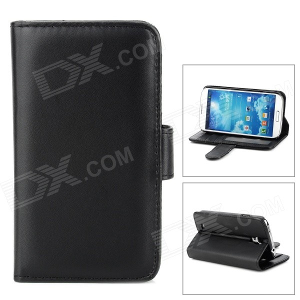Protective Leather Flip-open Case w/ Stand / Card Slots + Stylus Pen for Samsung i9500 - Black