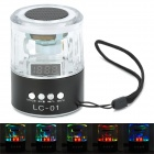 Crystal RGB Light Portable 2-Channel Media Player Speaker w/ FM / TF - Transparent + Black