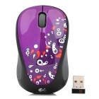 Logiech M235 Flower Pattern 2.4G Wireless USB 2.0 1200dpi Optical Mouse - Black + Grey + Purple