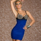 Fashion Punk Rivets Bra Top Club Dress for Women - Electric Blue + Black  (Size L)