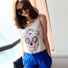 LC25092-1 Women's Fashion Cool Color Skull Pattern Tank Top - White (Free Size)