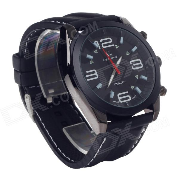 SuperSpeed V0176 Fashionable Stainless Steel Men's Quartz Analog Wrist Watch - Black (1 x LR626)