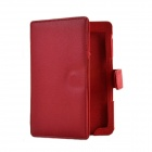 Lower-Notch Protective PU Leather Case for Amazon Kindle 4 - Red