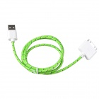 Nylon 30-Pin Male to USB 2.0 Male Data Sync / Charging Cable for iPhone - Green + White (94cm)