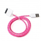 Nylon 30-Pin Stecker auf USB 2.0-Stecker Data Sync / Ladekabel für iPhone - Deep Pink + White (94cm)