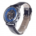 ORKINA KC023 Double-Sided Sekelton Automatic Men's Wrist Watch - Black + Silver + Blue