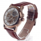 Buy ORKINA MG015 Double-Sided Skeleton Automatic Men's Wrist Watch - Brown + White Golden