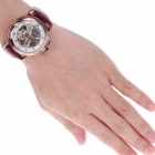ORKINA MG015 Double-Sided Skeleton Automatic Men's Wrist Watch - Brown + White + Golden