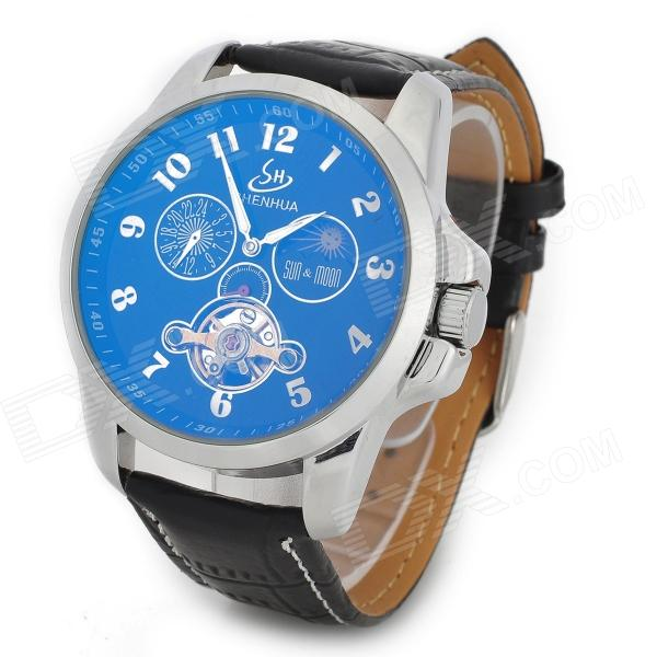 Artificial Leather Band Self-Winding Mechanical Analog Wrist Watch for Men - Black + Silver + Blue
