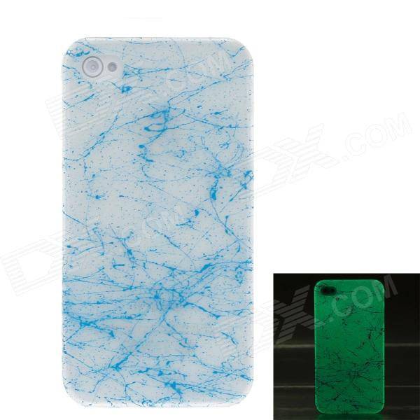 все цены на Crack Luminous Style Protective Plastic Back Case for Iphone 4 / 4S - Blue + White онлайн