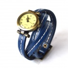 Fashion Retro Style PU leather Band Lady's Quartz Analog Wrist Watch  - Blue + Bronze (1 × 626)