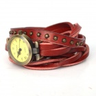 Fashionable Retro Style PU leather Band Lady's Quartz Analog Wrist Watch - Red + Bronze (1 x 626)