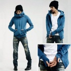 Fashion Leisure Fleece Hoodie Coat Jacket - Blue (Size L)
