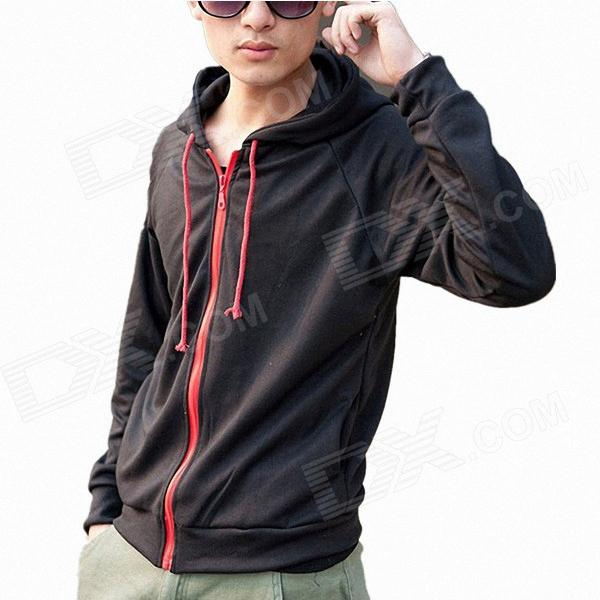 Fashion And Personality Dinosaur Fleece Hoodie Jacket Coat - Black + Red (L)