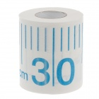 Novelty Metric Ruler Pattern Toilet Paper Roll Tissue - White + Blue